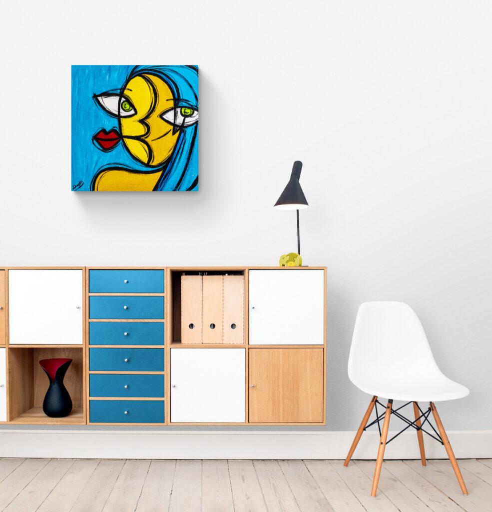 A Menina do Cabelo Azul - Obra de arte Um dedo de arte - artista Diego Moura